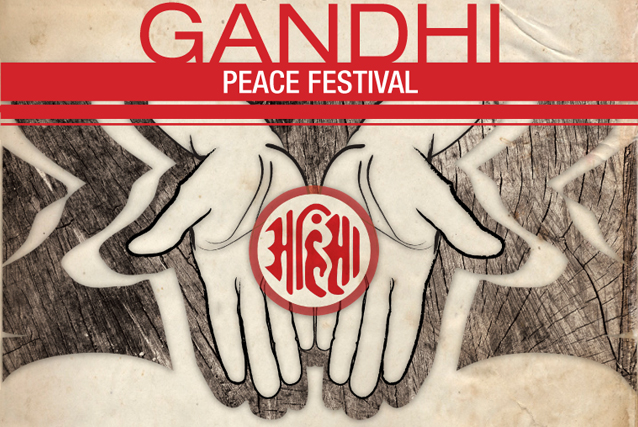 Gandhi Peace Festival Poster w/ Outstretched Helping Hands